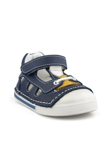 Cici Bebe Ayakkabı Cicibebe Deri Detaylı Nubuk Önü Ve Arkası Kapalı Cırtcırtlı Erkek Çocuk Sandalet Renkli